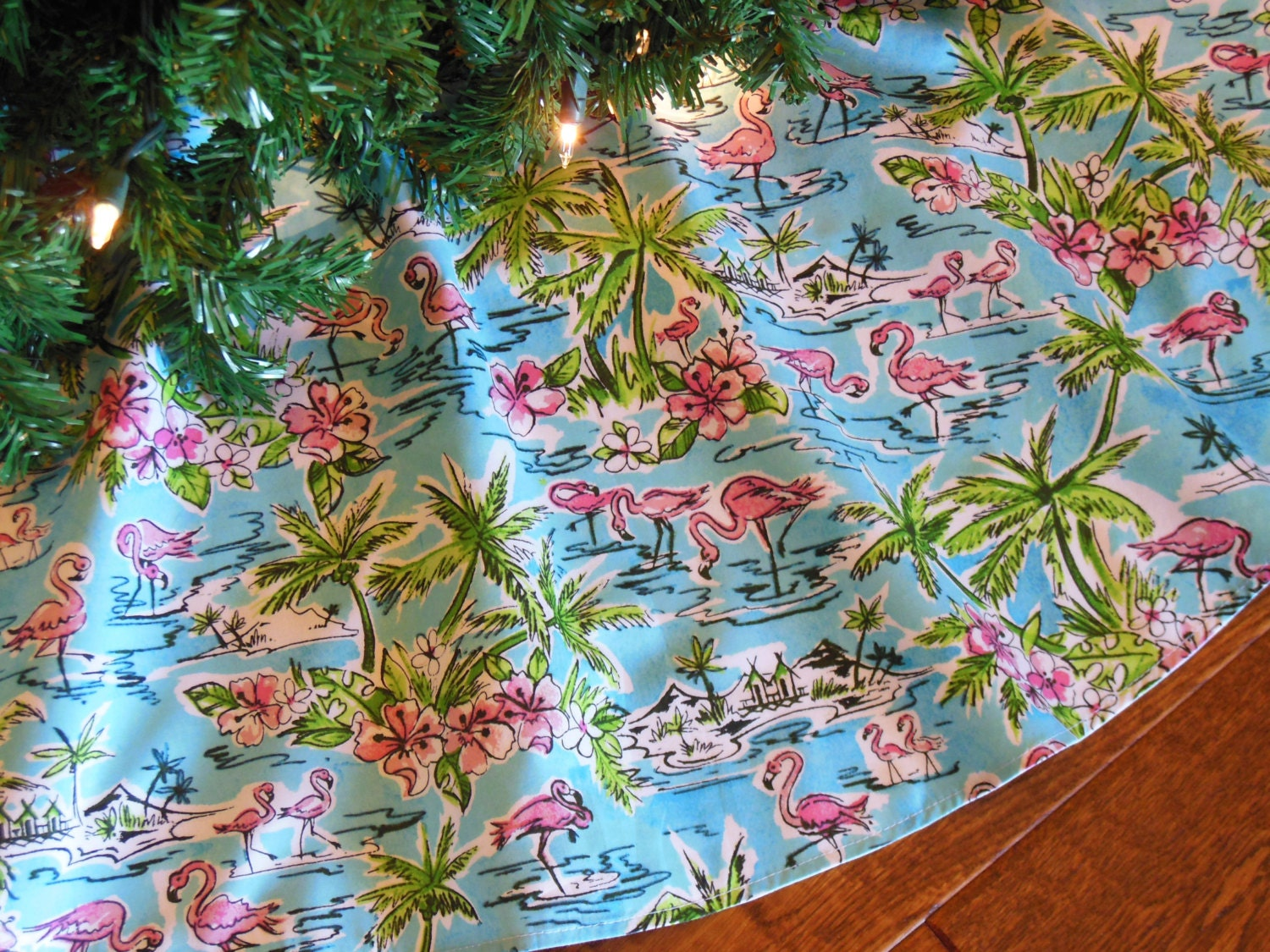Flamingo Christmas Tree Skirt Tropical Tree Skirt Pink
