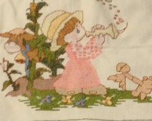 Precious Moments Baby Blanket Quilt Handmade Cross Stitch For Baby Girl Heirloom Quality