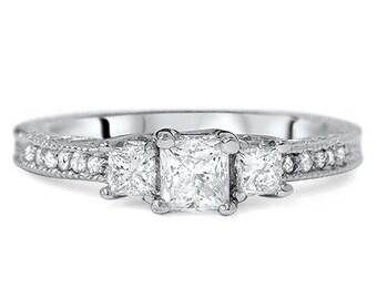 Diamond 1.50CT Vintage Three Stone Princess Cut Engagement Ring 14K White Gold