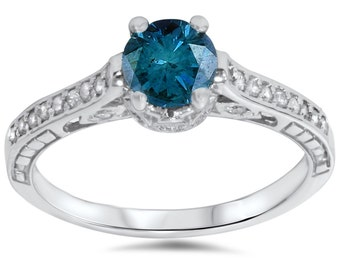 Antique 1.23CT Blue Diamond Engagement Ring Vintage Hand Engraved Deco Style 14K White Gold