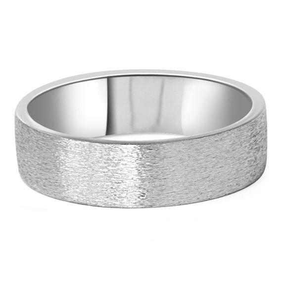 Wedding Band 10k White Gold 6mm: Mens 10K White Gold Mens 6MM Flat Brushed Wedding Band Ring