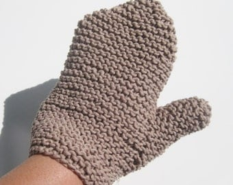 Hemp cotton spa bath mitt taupe hand knitted