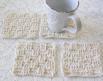 Crochet Coasters - Drink Coasters - Crochet Square Weave Coaster Set - White Square Bar Coaster