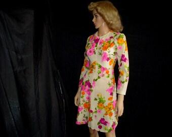 70s L 12 Polyester Knit Crepe A Line DRESS Pink Orange Floral