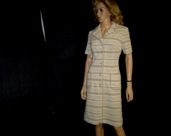 60s Lg Dacron Knit Day DRESS Mary Harnes Taupe White Stripe