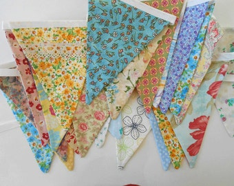 Random Country Chic Fabric Banner / Unique OOAK Shabby Chic Banner/ Country Chic Floral Bunting / Bunting Fabrics/ Photo Prop/   Large Flags