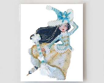 Wendy the Winter Witch counted cross stitch kit by Brooke's Books at thecottageneedle.com Christmas ornament perforated paper