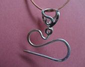 Sterling Puffed Heart Cable Needle Necklace for Sock Knitting