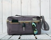Unisex Weekender bag -Travel bag - Canvas bag Airline bag Messenger bag shoulderbag grey mustard