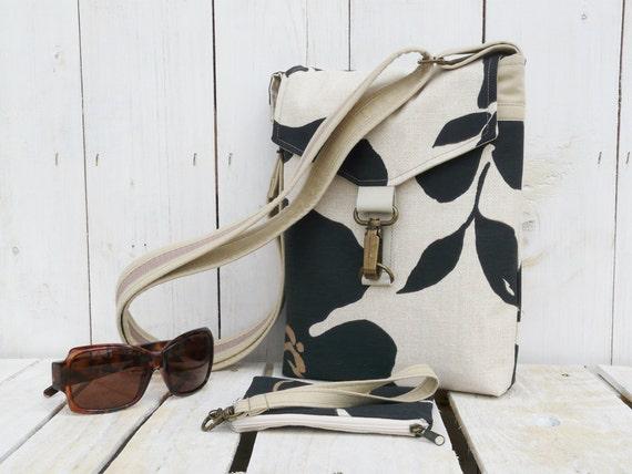 canvas cross body bag black beige leaves shoulderbag purse clutch pouch wristlet messenger bag