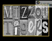 Missouri Tigers Letter Art photography print