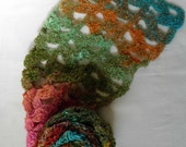Shades of the Rainbow All Seasons Crocheted Long Scarf. Original Design.