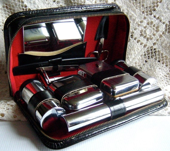 Vintage 1950s Mens Black Leather and Red Travel Grooming Kit