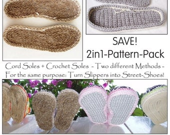E-Book for ANY Size Customized CORD-Soles and CROCHET-Soles. Turn home slippers into street shoes - Instant Download Pdf
