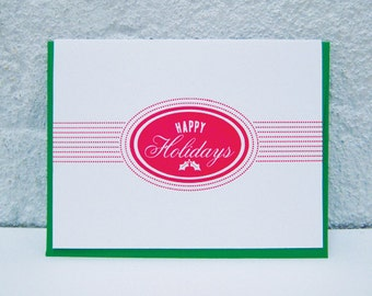 Happy Holidays - Oval - Mistletoe - greeting cards - letterpress - red - cheerful
