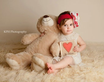 Little Lovey Vintage red and cream Headband