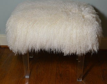 Real Natural Mongolian Lamb Fur Bench Acrylic Legs Tibet Lamb Stool  New Sheepskin Footstool Fur Ottoman foot  stool