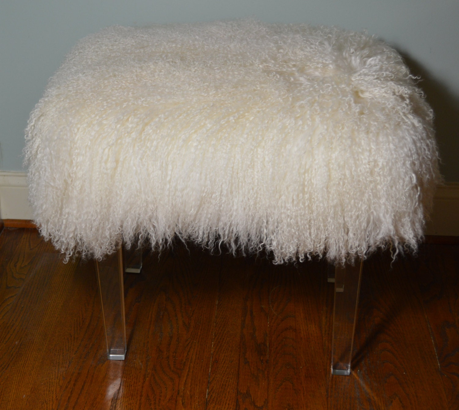 Real Natural Mongolian Lamb Fur Bench Acrylic Legs Tibet Lamb