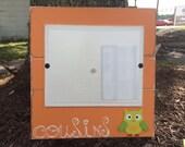 Orange Cousins with owl distressed slat style 8 x 10