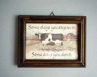 Vintage Cow Framed Art // Country Decor