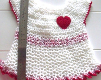 NEW Little Sweetie Baby Dress Hand Crochet Size 6 to 12 months Infant Dress with Heart