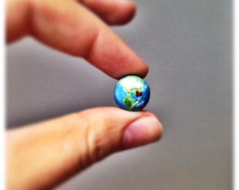 earth pin | polymer clay handpainted