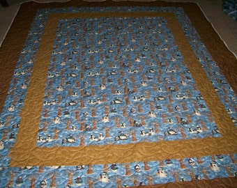 Queen Size Blue and Brown Snowman Quilt with Touches of Christmas
