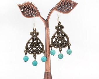 Unique Brass Earrings Turquoise Earrings Chandelier Earrings Precious Stone Earrings Rough Stone Earrings Genuine Turquoise Earrings