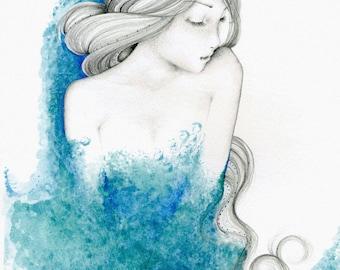 Fine Art for Your  Home Teal Blue Home Decor Blue Bathroom or Spa Decor Original Painting  of a Women Aqua Teal Blue Bathroom Wall Art Decor