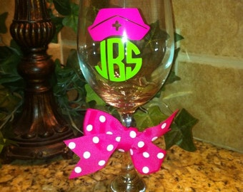 Personalized Nurse Wine Glass-Nursing Student Gift-Best Wine Glass-Nursing School