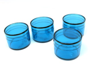 Bead Storage or Jewelry Packaging Round Box Blue Clear Tiny 1 1/4 by 1 inch 4pcs
