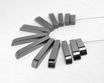 Natural Hematite Fan Beads 50mm wide fan 6 - 30 mm long beads 13pcs graduated (2004)