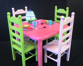 American girl doll, table 4 chair set: pink  lime green for 18 in doll