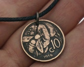 HONEYBEE necklace. Italy necklace. Italian COIN jewelry. bee necklace. antique coin centissimo  No.001064