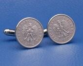 Poland Eagle 10 Groszy Coin Cufflinks - Polska Coat of Arms