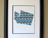 Washington state recycled postage stamp map