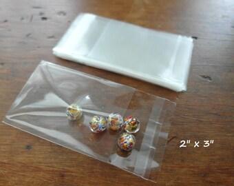 """100 Self Sealing Cello Bags, Self Seal Bags, Resealable Cello Bags  2"""" x 3"""""""