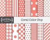 Coral Scrapbook Paper, Digital Download Paper, Digital Paper Pack, Coral Digital Paper