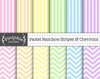 Pastel Chevron Scrapbook Paper Digital, Rainbow Digital Paper Pack, Pastel Striped Paper, Instant Download, Commercial Use