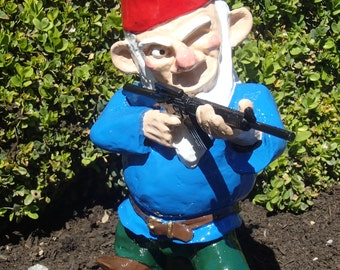 Combat garden gnome in standing position with ak 47 for Combat gnomes for sale