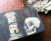 Hand-painted Wood Box with Skull, Birch Tree, Snake, Adam & Eve Theme