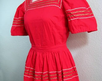 Vintage 50s Cherry Red Rockabilly Blouse and Skirt