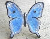 Salt Dough Blue Butterfly Ornament