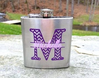 SALE. Bridesmaid flask, 6 ounce, stainless steel personalized flask.  Bridesmaid and Maid of honor gift.  Chevron monogram and name