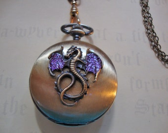 Not just a Dragon, it's a Wicked Wings Wyvern REVERSIBLE Wind-up Watch Necklace, LANYARD style chain,Med Purple sparkly