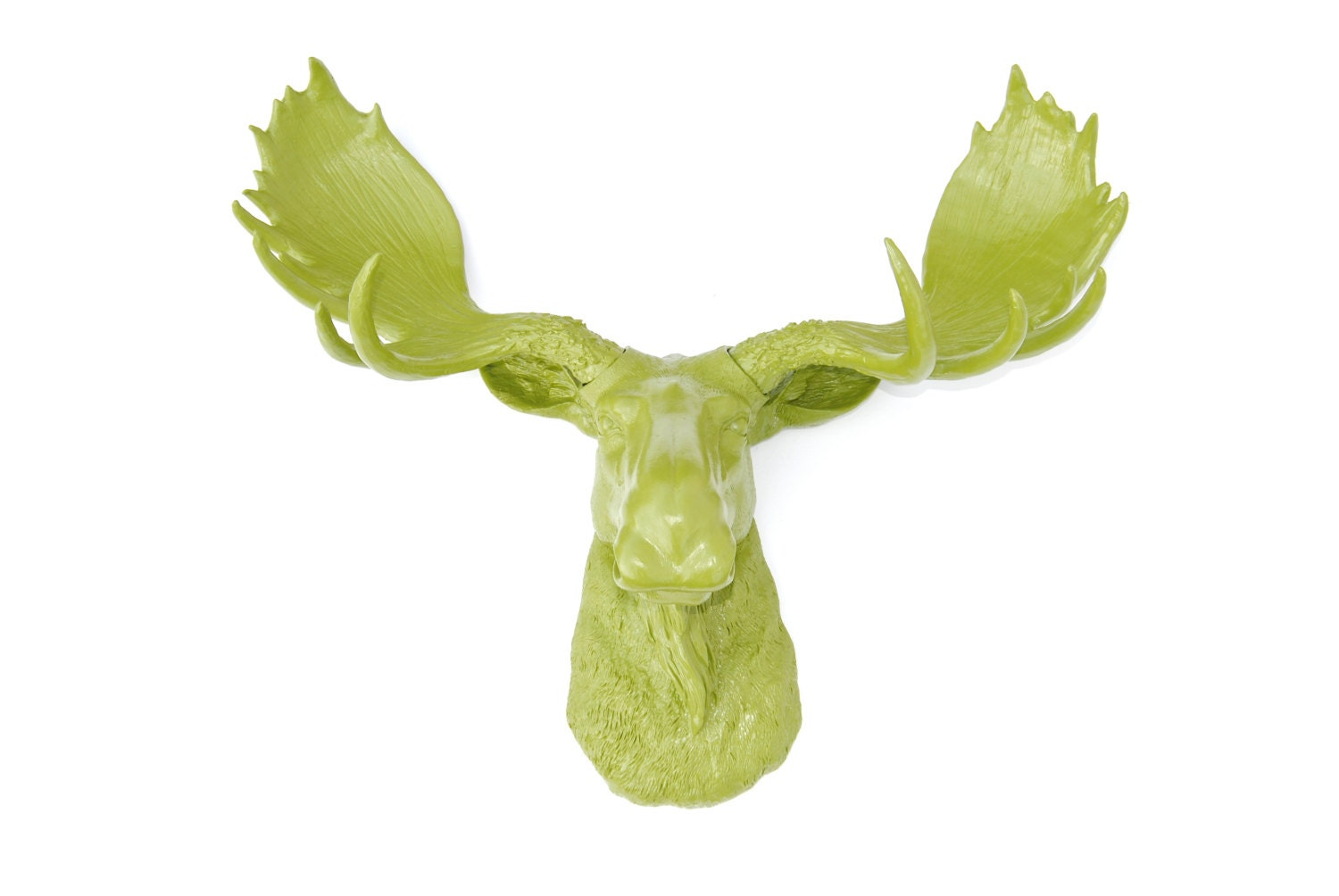 Fake moose head wall mount faux taxidermy moss green moose - Fake moose head mount ...