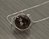 "Smoky Quartz Pendant, 40/80cts smoky quartz rose-cut round (36"" chain) - Rocks Necklace"
