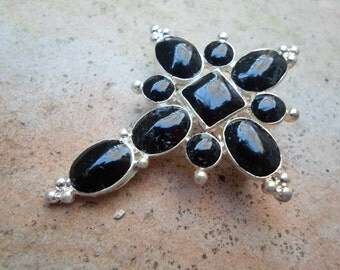 Black Onyx and Silver Cross Pendant