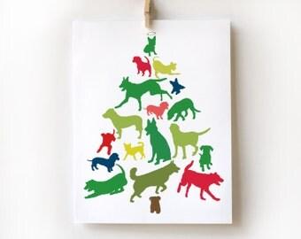 Dog Christmas Tree Card