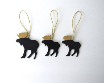 Moose Ornaments, moose christmas decorations, chalkboard gift tags for Christmas